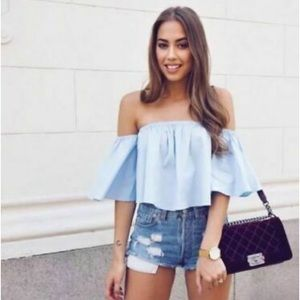 Zara Sky Blue Off Shoulder Crop Top Bell Sleeves